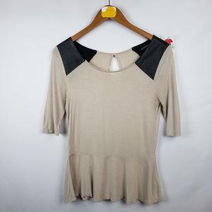 Express Womens Peplum Blouse Keyhole Short Sleeve